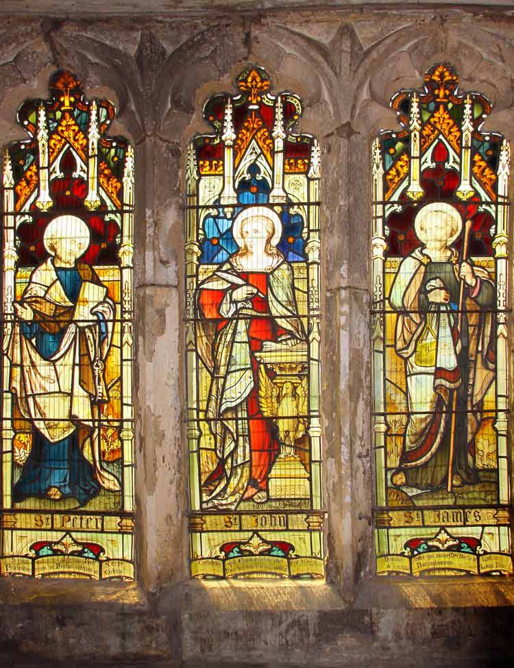 South-east window of chancel showing Saints Peter, John and James, is in memory of John Bull STP, the last prebendary (an honourable Canon) of Fenton (d. 21st Feb. 1858). This window erected by his only brother, Henry (M.A.) rector.