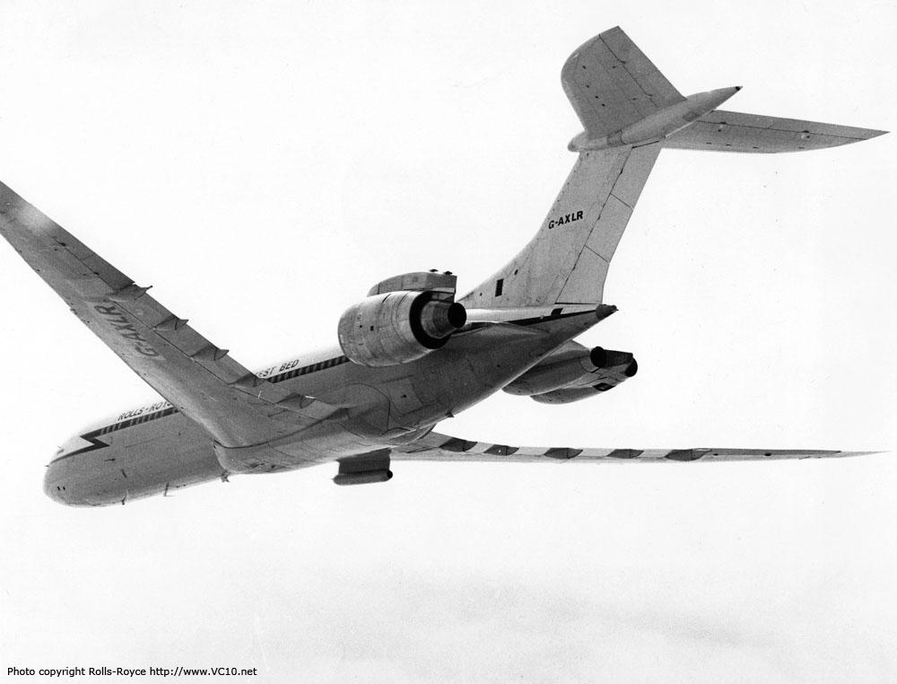 A BAe publicity photo showing G-AXLR in flight. The pod below the right wing root contained heating elements that dissipated the electrical energy generated by the RB211's generator to the air. This was done as the generator needed to be loaded for testing, but the energy wasn't needed by the aircraft systems. http://www.vc10.net/History/