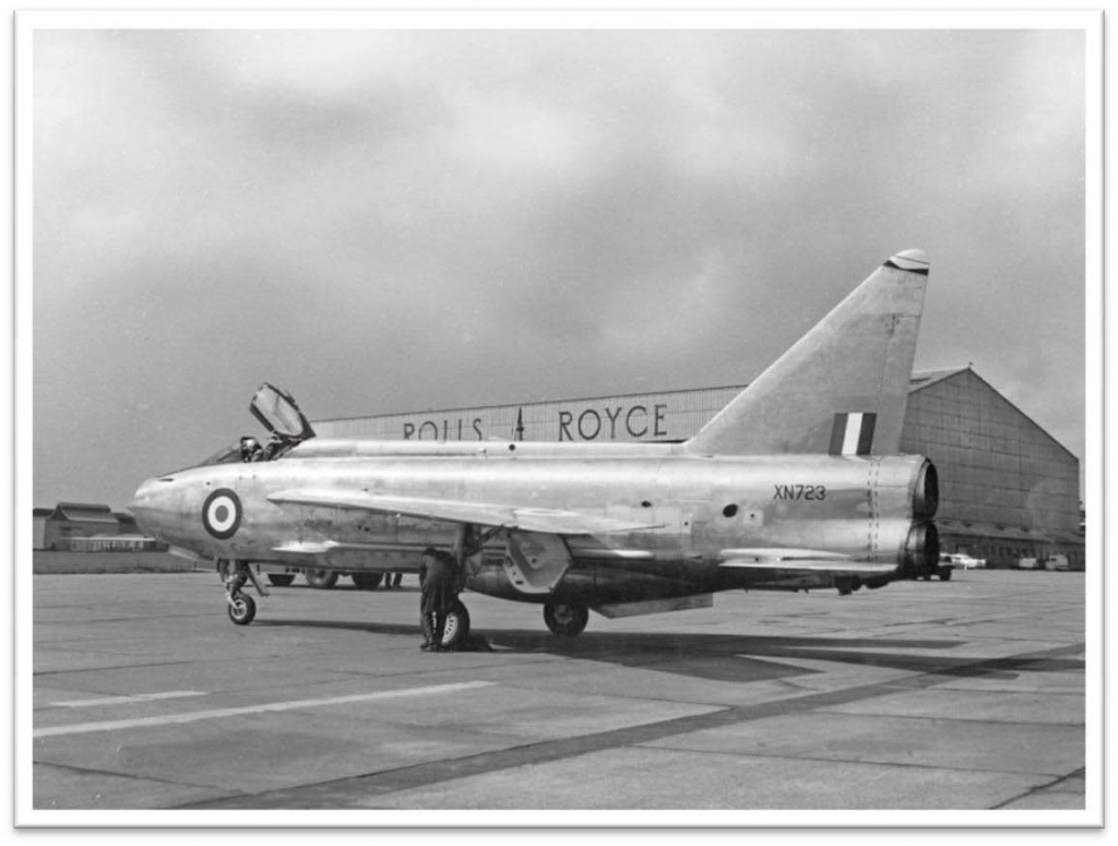 Lightning Mk.2 XN723 runs used to develop improvements in the Avon 210 engine and reheat handling and performance throughout the flight envelope. On March 25th failure of a small component of test instrumentation caused a massive fuel leak which led to fire in engine bays and reheat zones. From 5,000 ft 500 kts a zoom climb to 11,000 ft with both engines shut down was made but the fires could not be extinguished. When the flying controls seized I ejected. A sad loss! – 1964