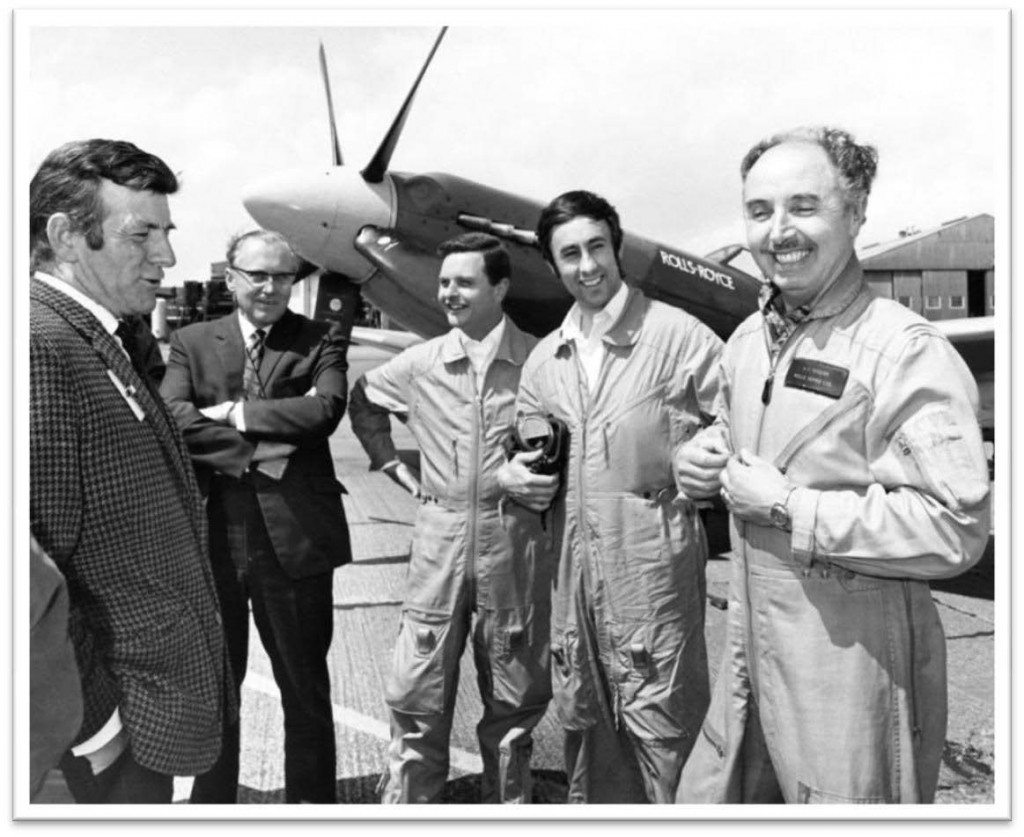 Cliff Rogers, Chief Test Pilot (decorated WW2 Bomber Pilot) in a typical bout of light hearted repartee with ground crew for the benefit of the TV film crew - 1968