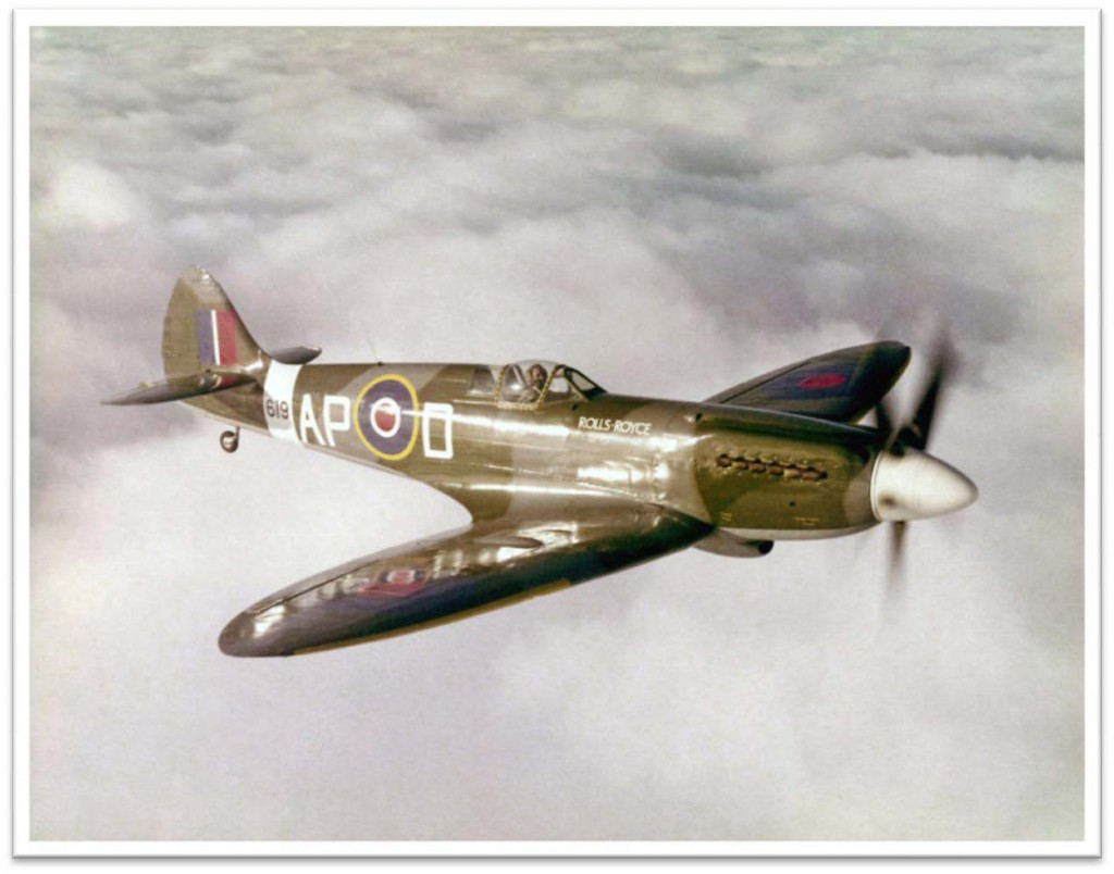 "The Rolls Royce Spitfire Mk.XIV (Civil rated G-ALGT) was repainted and given its wartime number for ""The Battle of Britain"" film. Wing tips were added to what was originally a clipped wing version. The engine cowling housing the R-R Griffon engine and the five-bladed prop were cleverly hidden in the filming. (I declined an invitation to take part!) On return to Hucknall everyone was pleased to see the transformation in appearance and I was impressed with the improved handling, so she was cleaned up and prepared for the B of B displays, as shown in these pictures – 1968"