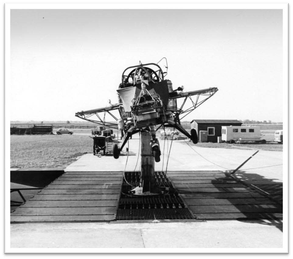 "German VFW Hover Rig 1262 at the test site in a remote corner of Bremen airport. The Rig was used to develop a ""fly by wire"" control system for the VTOL fighter aircraft, VAK191. Mounted on a pedestal for functional checks and pilot familiarization - October 1969"