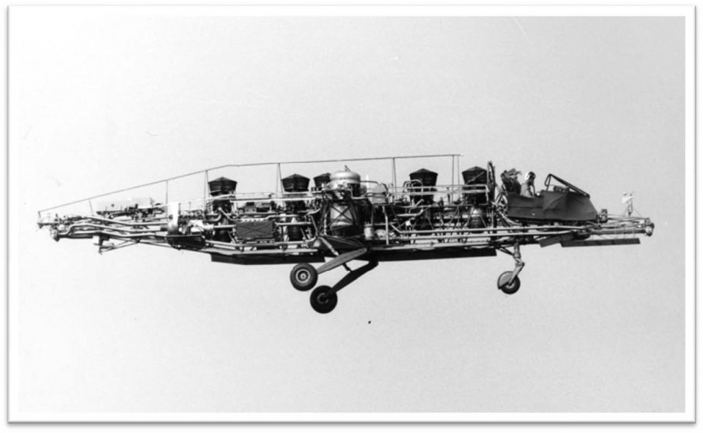 Five Rolls Royce RB108 engines provided jet thrust for vertical take-off and landing. They also provided compressed air to the nozzles at nose and tail and on the outriggers. The pilot had a conventional single throttle. The pilots conventional stick and rudder pedals sent electrical signals to the nozzles making them open and close. This system gave the pilot precise control in pitch, roll and yaw with no lag. Two small fuel tanks held sufficient for 12 minutes engines running!