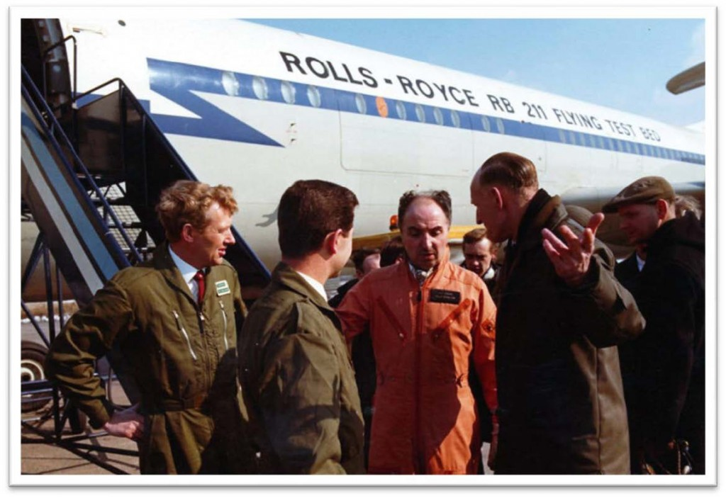 "March 6th. After the first successful test flight of the RB211 engine installed in VC10 G-AXLR, Cliff Rogers (Chief Test Pilot) said ""Re-fuel and we'll take her again"". The Chief Ground Engineer explains his problems and advises caution so confident are we, the flight crew, that Cliff wins the argument and we make a second one hour flight - 1970"