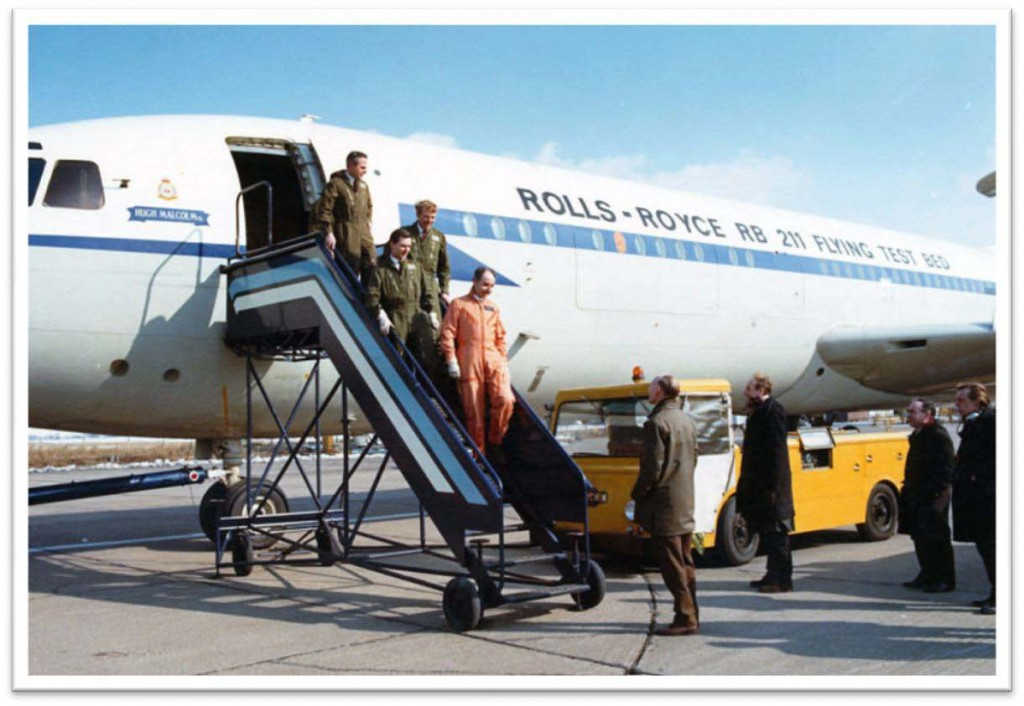 Success! The crew disembark after the first test flight of the RB211 in VC10 G-AXLR at Hucknall, to be greeted by the Chief Ground Engineer. Cliff Rogers (Chief Test Pilot) leads me, (Co-Pilot) John Butcher and Sam Painting (Flight Test Engineers).