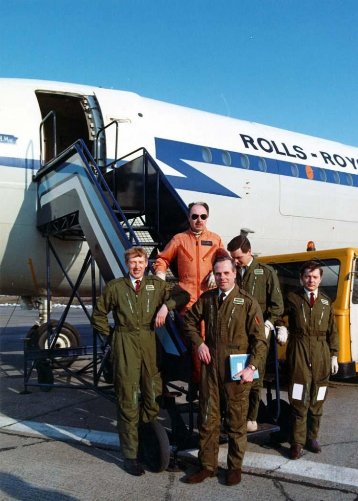 A happy crew! After the first test flight of the RB211 in VC10 G-AXLR at Hucknall. Back row: Cliff Rogers and me. Front row: John Butcher, Sam Painting, Dave Wilkinson (Flight Test Engineers) left and right – 1970