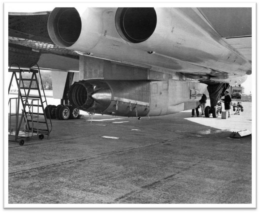 R-R Bristol. Olympus 593 engine for Concorde installed under Vulcan XA903 for subsonic development testing -1971