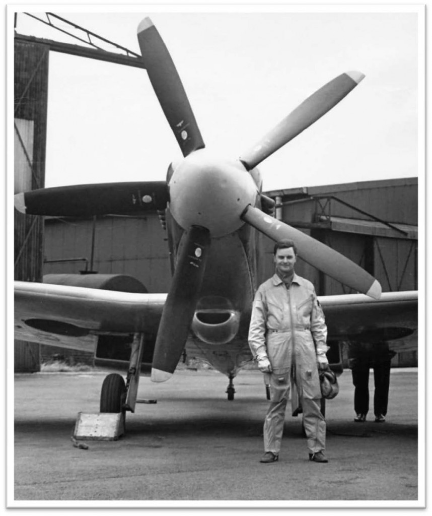 "1961 — A boy's dream comes true. On my 29th birthday my boss, Cliff Rogers (Chief Test Pilot) handed me the Pilots Notes for the Spitfire MK.XIV G-ALGT and said ""Happy birthday Dennis"". Priming and cartridge starting the powerful Griffon engine was the first hurdle to overcome; taxiing for take-off, the next due to lack of forward visibility. For take-off, full left rudder trim important to help counteract the swing to the right. Easy on the engine power-41b to 61b boost would suffice. All went well and I soared into the sky thrilled to feel in control of this thoroughbred aeroplane. After an enjoyable half hour exploring the handling characteristics of the aircraft, I was faced with landing it. I made two attempts at a curved approach before committing to landing off the third. No-one was excited, there were no celebrations, but I WAS OVER THE MOON! Over the next 10 years I flew G-ALGT on many displays around the country and also on liaison visits to RAF Fighter Squadrons where it always caused quite a stir. God bless the Spitfire!"