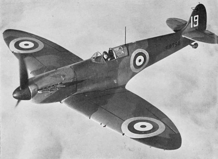 A Spitfire in flight. Its official maximum speed is 367 m.p.h. at 18 ,400 feet.