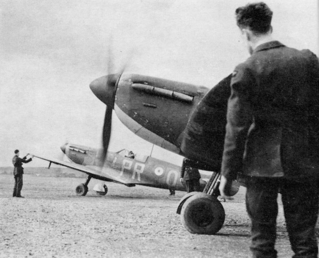 Spitfire Mk 1s of No. 609(F) Squadron. Interest is in the aircraft still being in their Night, White and Aluminium factory under side finish.