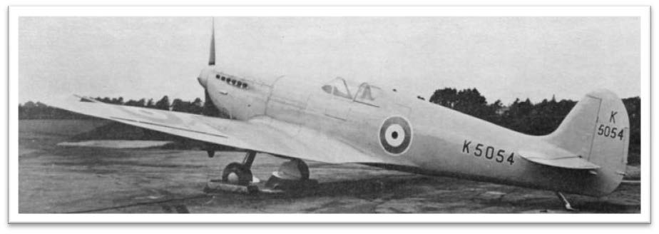 The Spitfire prototype in overall finish of Seaplane Grey. Fuselage roundels are 25 in. diameter outlined in white. Non-outlined upper wing are 50 in.dia. The white outlined serials are 8 in. and 6 in. respectively.