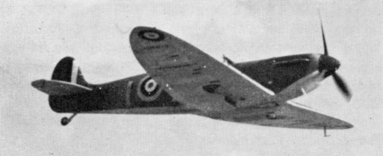(Above and below) Spitfires of No. 19(F) Squadron. Both aircraft have Dark Green and Dark Earth upper surfaces and Sky under surfaces. The aircraft above has 25in. diameter under wing roundels, while the one below has 40in. roundels. Both aircraft have 7in. wide fin stripes.