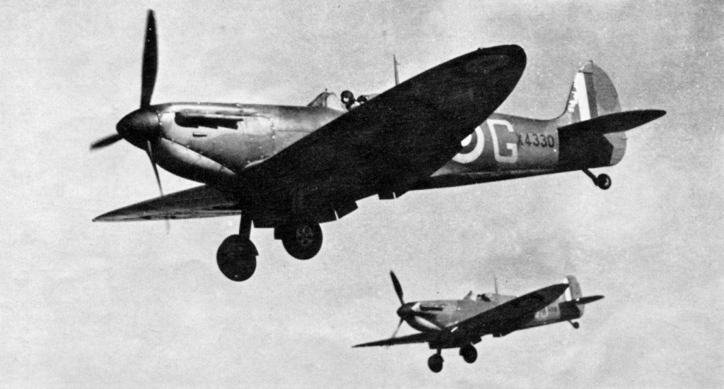 Spitfire Is of No. 92(F) Squadron landing after an interception. Both aircraft have Tin. wide fin stripes. Tile leading Spitfire has 40in. (approximate) under wing roundels, whilst the other has standard 50in. roundels.