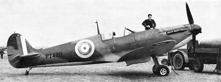 Spitfire IIA, P7420. Dark Green and Dark Earth upper surfaces, Sky under surfaces, 7in. wide hands on fin flash, 35in. Type AJ fuselage roundels, with correct proportion Red centre spot. 25in. under wing roundel near tip.