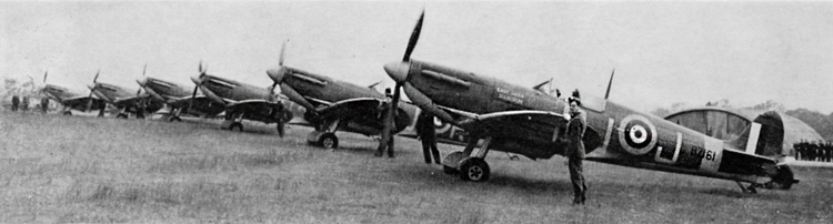 No. 92(F) Squadron Spitfire VBs. Photograph was taken after 22nd April, 1941, when all Sky under surface was re-instated. The foreground aircraft has 35in. Type A.I roundels with Tin. centre spot, codes are light grey and motif India Squadron' iii it some colour. 50in. Type A under wing roundel.
