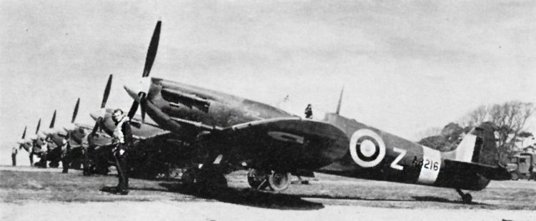 Spitfire VBs of No. 91(F) Squadron. Spitfire in the foreground is AB216, the Squadron Commander's aircraft. Upper surface colours are Dark Green and (probably) Ocean Grey.