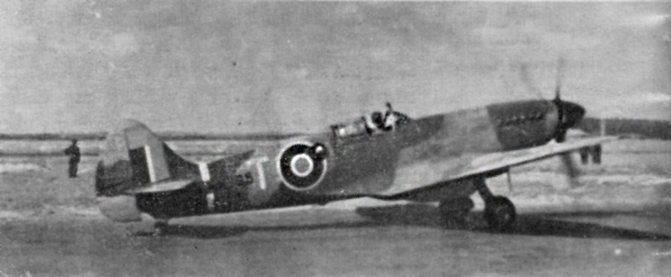 Spitfire T. R.Mk. XI V, RM795, in May 1945. Standard day fighter camoaflage scheme. Thin White or Sky band, approximately 6in. wide, around the rear fuselage. Black spinner. (Photos: R. C. Jones).