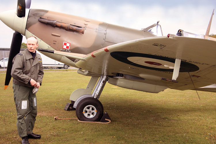 Flt. Lt. Brown with Spitfire