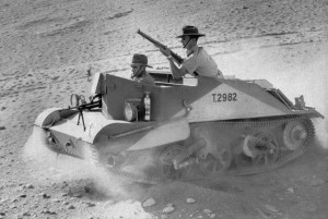 A Bren Gun Carrier - were usually used for transporting personnel and equipment, mostly support weapons, or as machine gun platforms. The hull in front of the commander's position jutted forward to give room for the Bren gun (or other armament) to fire through a simple slit. Either side of the engine were two areas in which troops could ride or stores be carried. Some 113,000 were built by 1960 in the United Kingdom and abroad (Image: AP Photos)