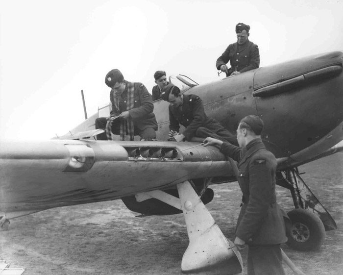Rearming of a Hawker Hurricane at RAF Tangmere, 1940. The turn-around time (re-arm and refuel) for the Spitfire was 26 minutes, while the Hurricane's was 9 minutes, which increased its operational effectiveness