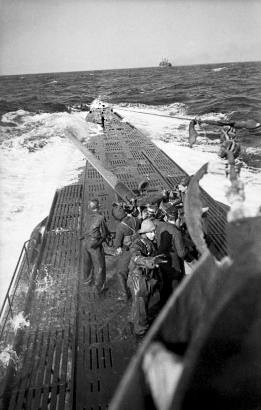 "A merchant ship attacked from a position facing the stern, January 1942. Prime Minister Winston Churchill wrote: ""The only thing that really frightened me during the war was the U-boat peril"". During the war the U-boats sank about 2,779 ships for a total of 14.1 million tons. This figure is roughly 70% of all allied shipping losses in all theatres of the war. The most successful year was 1942 when over 6 million tons of shipping was sunk in the Atlantic. (Image source: German Federal Archive (Bundesarchiv))"
