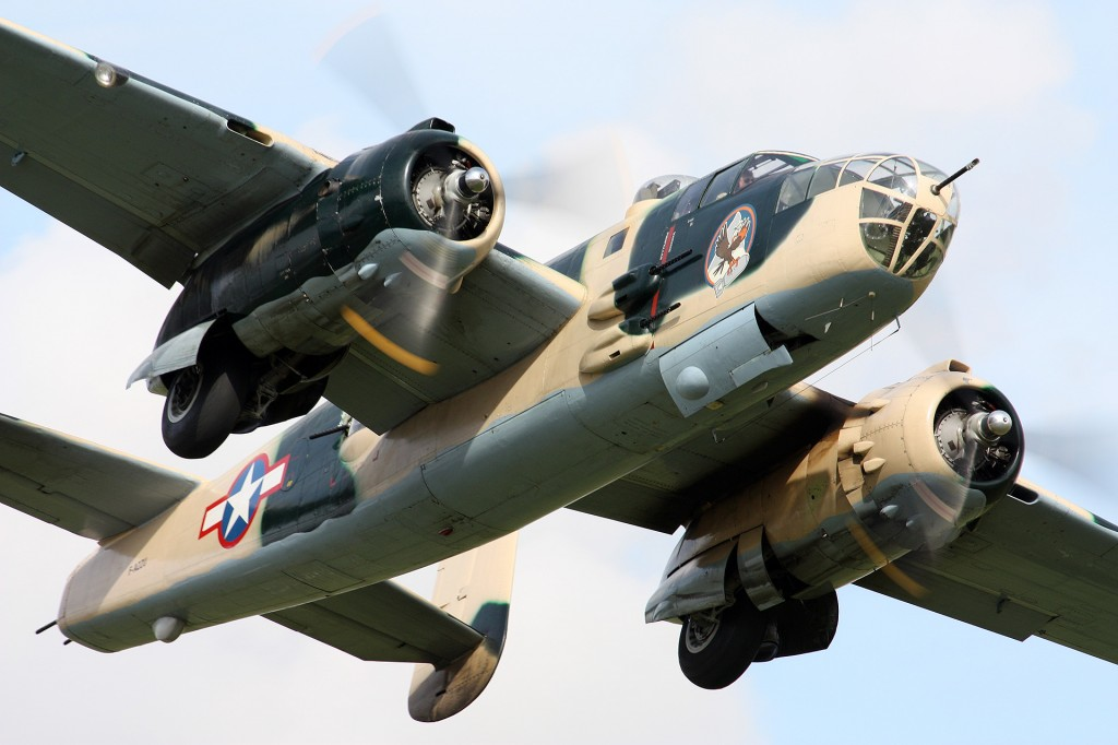 The B25 Mitchell seen over Duxford 2009. Used by many Allied air forces, in every theater of World War II, named in honor of General Billy Mitchell, a pioneer of U.S. military aviation. Photograph taken by Andrew Mason - good isn't it!