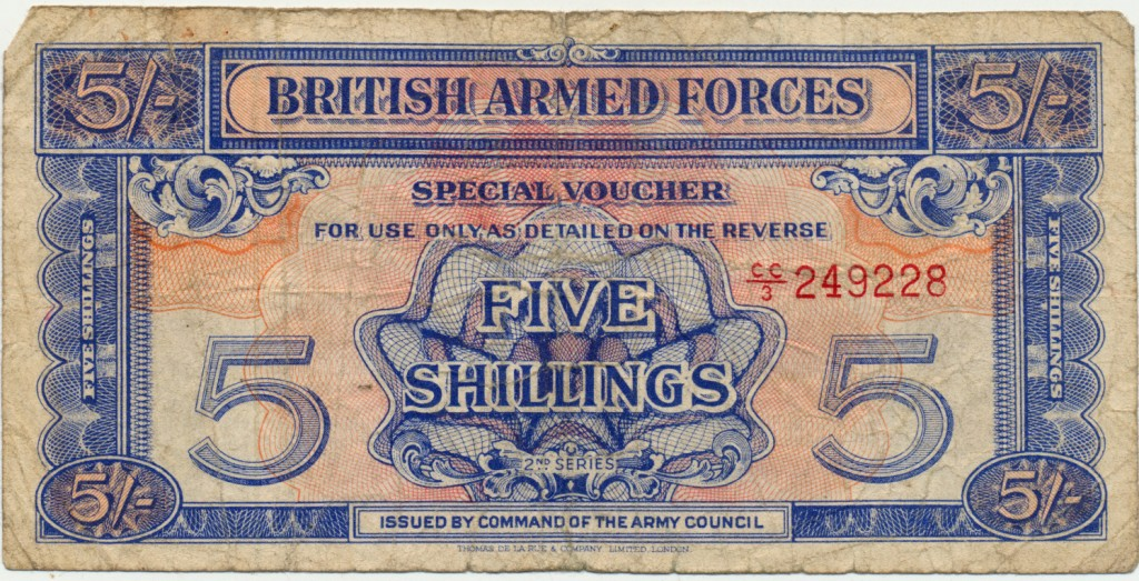 Example of paper currency issued to British Forces in occupied territories in Europe during World War II. It was printed in various denominations