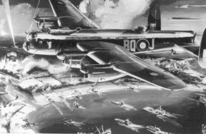 A widely circulated artist's impression of Kenyon Bowen-Bravery's Lancaster, 'Bad Penny II'