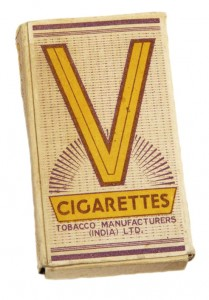 Packet of 'V' for Victory cigarettes containing ten-cigarettes. Life in the Western Desert centred on 'K' rations brewing endless cups of tea and smoking Victory V cigarette