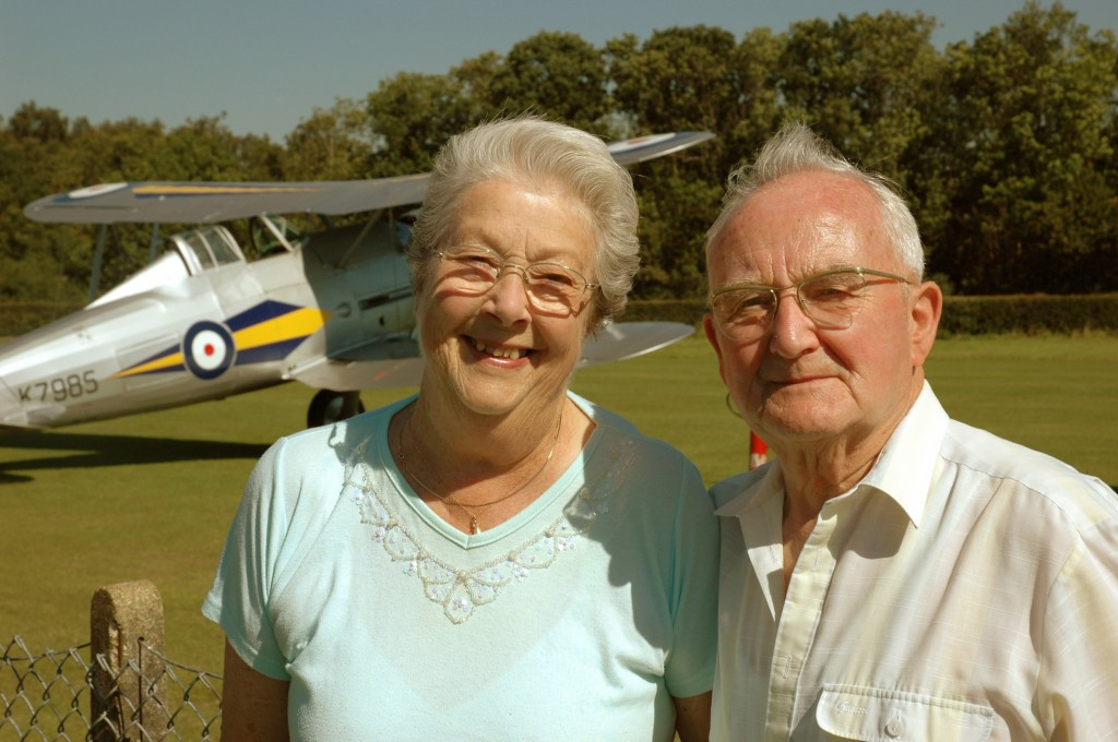 Peter Mason and his wife Valerie at the Shuttleworth Military Pageant in front of his favourite aeroplane - the Gloster Gladiator (2010)